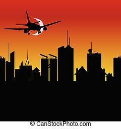 città, aeroplano, vettore, silhouette, illustrazione