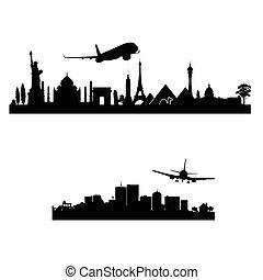 città, aeroplano, vettore, sopra