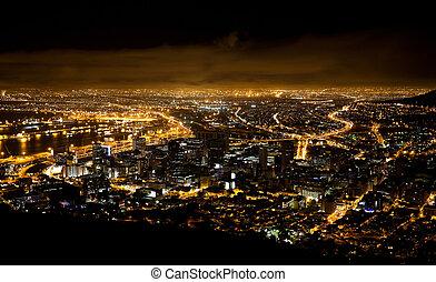 città, africa, scena, notte, capo, sud