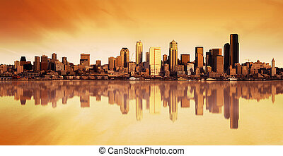 città, alba, vista