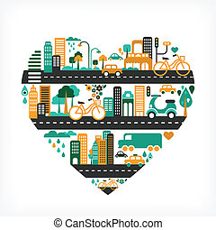 città, amore, icone, molti, -, forma cuore