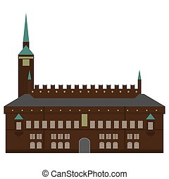 città, appartamento, set, elements., icone, danimarca, style., città, architettura, sights., punto di riferimento, disegno, copenaghen, salone, danese