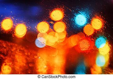città, astratto, luci, multicolor, fondo, notte