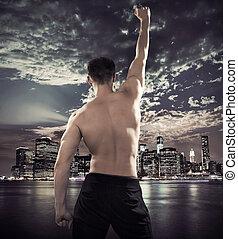 città, atleta, sopra, fondo, adattare