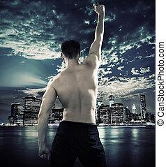 città, atleta, sopra, fondo, muscolare