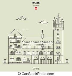 città, basel, punto di riferimento, switzerland., salone, icona