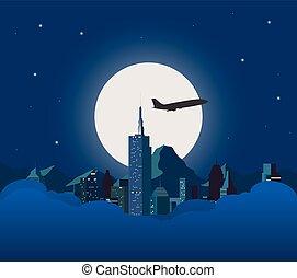 città, bianco, moon., notte
