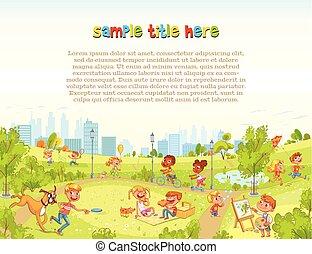 città, camminare, park., campo di gioco, bambini