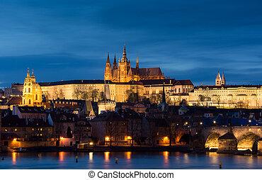 città, ceco, immagine, prague., praga, panoramico, republi, capitale