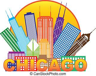 città, chicago, colorare, illustrazione, orizzonte, cerchio