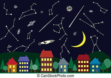 città, cielo, sopra, illustrazione, notte