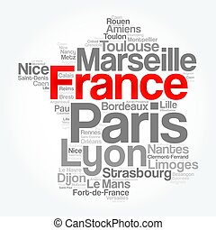 città, città, elenco, francia