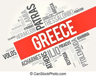 città, città, elenco, grecia