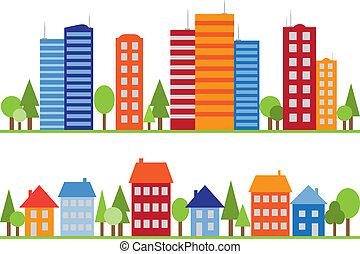 città, città, modello, seamless, villaggio, o