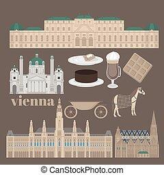 città, città, vienna., elementi, viaggiare, palazzo, viste, stephansdom, belvedere, austria, karlskirche, architettura, punto di riferimento, austriaco, salone, viaggio