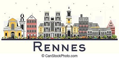 città, colore edifici, isolato, francia, orizzonte, white., rennes