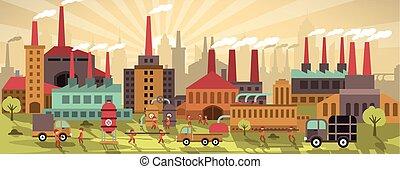 città, colors), fabbrica, (retro