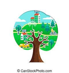 città, concetto, albero, ambiente, verde, cura