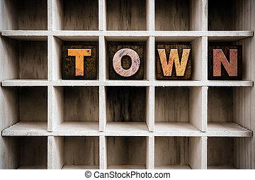 città, concetto, letterpress, legno, cassetto, tipo