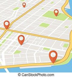 città, concetto, perno, mappa, abstarct, vettore, prospettiva, pointers., 3d, navigazione, gps