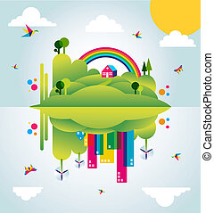 città, concetto, primavera, illustrazione, verde, tempo, felice