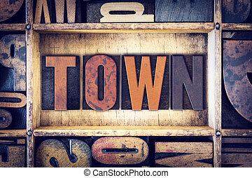 città, concetto, tipo, letterpress