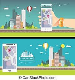 città, concetto, web, banner., internet, navigazione