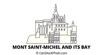 città, contorno, illustrazione, mont, viaggiare, landmarks., baia, francia, orizzonte, vettore, viste, santo, punto di riferimento, linea, simbolo, relativo, michel, set.
