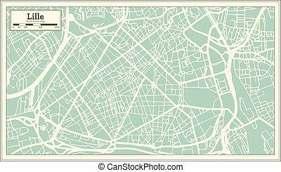 città, contorno, lille, map., francia, mappa, retro, style.