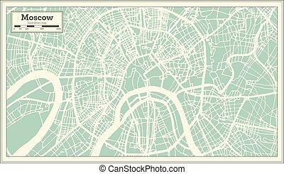 città, contorno, mappa, mosca, map., russia, retro, style.