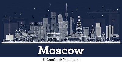 città, contorno, mosca, orizzonte, bianco, russia, edifici.