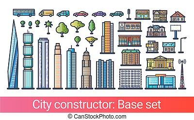 città, costruttore, appartamento, linea.