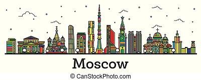 città, costruzioni, contorno, colorare, mosca, isolato, orizzonte, white., russia