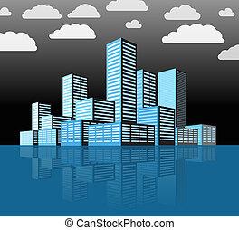 città, costruzioni, moderno, district., prospettiva
