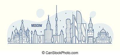 città, costruzioni, mosca, vettore, orizzonte, russia