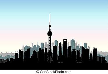 città, costruzioni, sciangai, cinese, urbano, viaggiare, carta da parati, landmarks., asia, vacanza, fondo., porcellana, cityscape, skyline., silhouette., paesaggio.