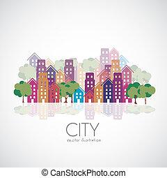 città, costruzioni, silhouette