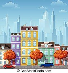 città, costruzioni, strada, urbano