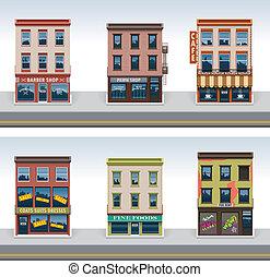 città, costruzioni, vettore, set, icona