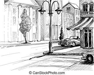 città, costruzioni, vettore, vecchio, illustrazione, automobili, schizzo, stile, matita, carta, strada, retro