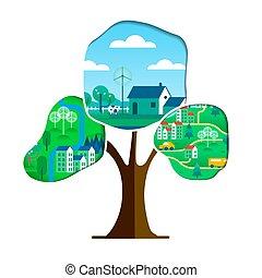città, cura, albero, verde, ambiente, concetto