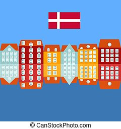 città, danese, costruzioni, vecchia città, nyhavn, denmark., viste, stile, appartamento, colorare, copenaghen, punto di riferimento, banchina