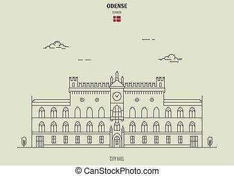 città, denmark., odense, punto di riferimento, salone, icona