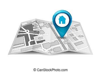 città, direzione, perno, servizio, mappa, concept., strada, disegno, prospettiva, pennarello, gps, 3d