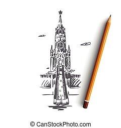 città, disegnato, viaggiare, concept., russia, mano, cremlino, isolato, mosca, vector.