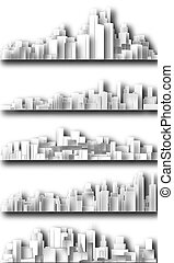città, disinserimento, skylines