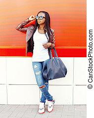 città, donna, sopra, borsa, moda, fondo, africano, rosso