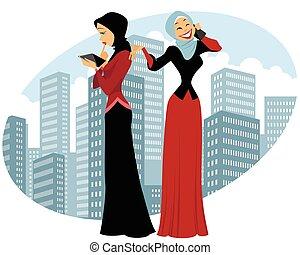 città, due, donne affari