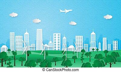 città, ecologia, concept., ambiente, conservazione, paesaggio