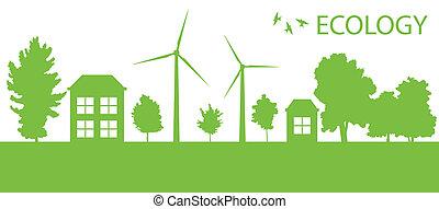 città, ecologia, eco, vettore, sfondo verde, villaggio, o